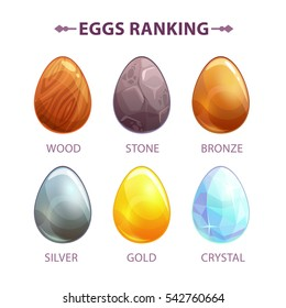 Cartoon eggs upgrade concept. Vector icons for game design. Isolated elements on white.