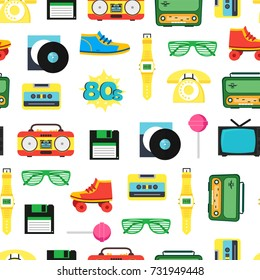 Cartoon Eighties Style Symbol Background Pattern on a White Retro Concept of Audio Tape, Phone and Shoe Accessory Hipsters. Vector illustration