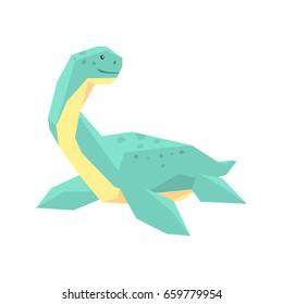 Cartoon elasmosaurus dinosaur character, Jurassic period animal vector Illustration