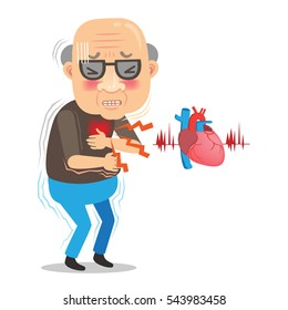 Cartoon elderly man with chest pain large isolated on white background. Vector illustration