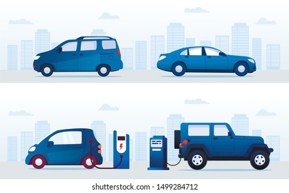Cartoon Electric Cars VS Gasoline Auto Set. Automobile Charging at Charger or Refueling Petrol Gas Station. Transport on Street on City Building Skyline. Eco or Classical Vehicle. Vector Illustration