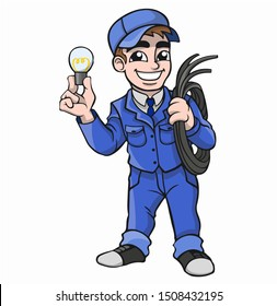 A cartoon electrician in a blue suit holds a cable and a light bulb in his hands.  Vector graphics.