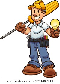 Cartoon electrician holding an oversized screw driver and a lightbulb. Vector clip art illustration with simple gradients. Some elements on separate layers.