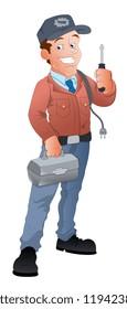 Cartoon Electrician Illustration