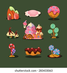 Cartoon element of the game . Gingerbread house and sweet trees. Sweet Landscape