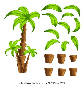 Cartoon elements the palm trees on a white background. Set of isolated objects of a tropical tree trunk and green leaves set the forest songs funny cartoon for filling game interface background.Vector