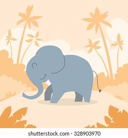 Cartoon Elephant African Colorful Flat Retro Vector Illustration