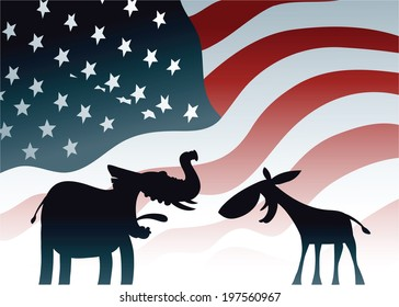 Cartoon elephant and donkey, symbols of the dominant US political parties.