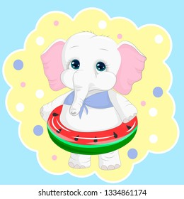 Cartoon elephant with inflatable ring. It can be used for baby t-shirt design, fashion print, velentines day card, poster, design element for children's clothes