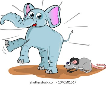 Cartoon elephant jumping and shouting after seeing small mouse nearby.