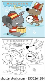 Cartoon of elephant with kangaroo in marching band team, coloring book or page