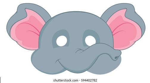 cartoon elephant mask for children masquerade. Vector Mask pattern.