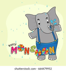 Cartoon elephant standing in a rainy day, Happy Monsoon background.