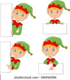 Cartoon elf boy costume with blank sign collection set