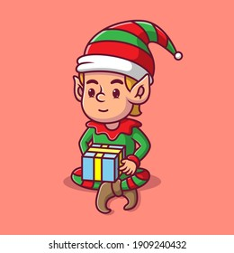 cartoon elf is carrying a gift vector illustration