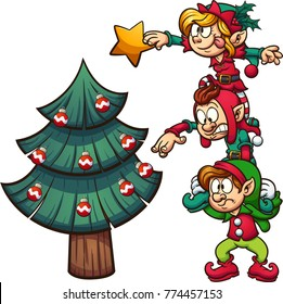 Cartoon elves standing on each other, decorating a Christmas Tree. Vector clip art illustration with simple gradients. Elves, tree and star on separate layers.