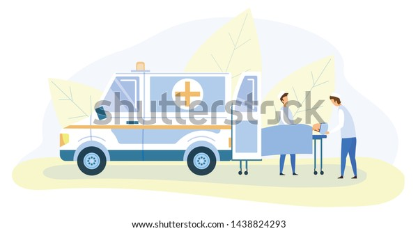 The Victim In A Car Accident Lies On A Stretcher Stock