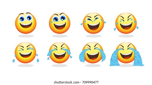 Cartoon emoji animation collection with funny cute emoticon crying with laughter isolated vector illustration