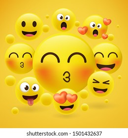 Cartoon emoji collection. Set of emoticons with different mood. 3d style vector illustration isolated on yellow background.