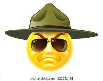 A cartoon emoji emoticon army boot camp drill sergeant wearing sunglasses