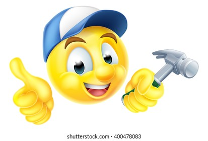 Cartoon emoji emoticon smiley face carpenter character holding a hammer
