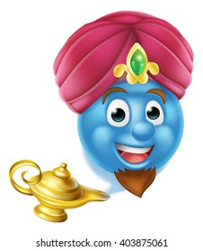A cartoon emoticon or emoji genie like in the story of Aladdin coming out of a magic lamp
