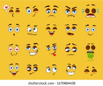 Cartoon emotion set, cute funny emotional faces. Collection of facial expressions, surprised, positive or negative character. Vector flat style cartoon emoji illustration