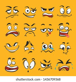 Cartoon emotion set, different cute face expressions. Feeling, mood, or relationships symbol. Vector flat style cartoon emotion illustration on yellow background
