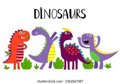 Cartoon emotional dinosaurs vector isolated on white background. Illustration of dino, jurassic predator, comic prehistoric reptile
