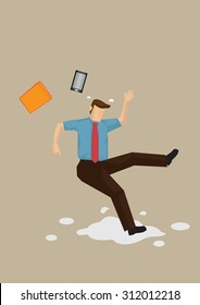 Cartoon employee slipped on wet floor and lost balance with his mobile phone and folder flying off. Vector cartoon illustration on workplace safety concept isolated on plain background.