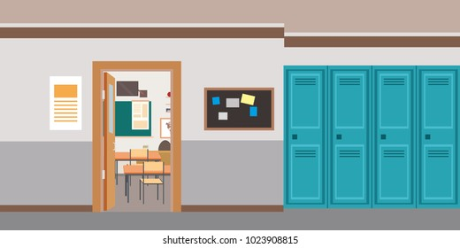 Cartoon empty school interior,open door in classroom,flat vector illustration