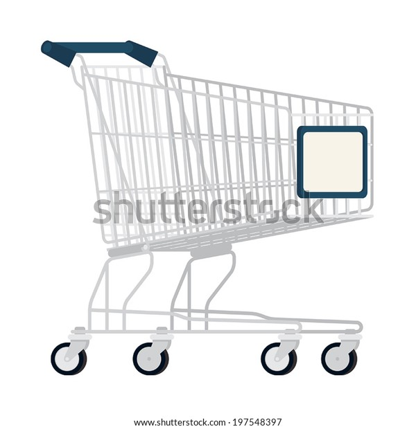 Cartoon Empty Shopping Cart On Transparent Stock Vector Royalty