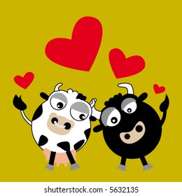 Cartoon of enamored bull and cow