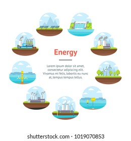 Cartoon Energy Generation Banner Card Circle Renewable Environmental Resources Alternative and Traditional Include of Sun Panel, Wind and Nuclear Station Flat Style Design. Vector illustration
