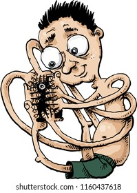 A cartoon of an enthusiastic man holding a smartphone with a tangle of arms and legs and taking a selfie photo.