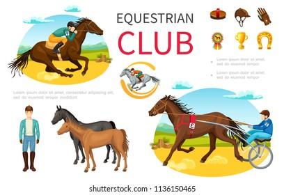 Cartoon Equestrian Sport Elements Set With Jockey Riding Horse Brush Cap Leather Gloves Medal Trophy Horseshoe