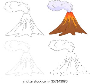 Cartoon erupting volcano. Dot to dot educational game for kids. Vector illustration
