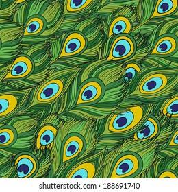 Cartoon ethnic vector Feathers seamless pattern