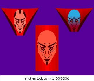 cartoon evil male faces of geniuses. Nosferatu villain