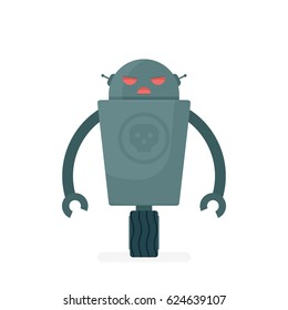 cartoon evil robot character. vector illustration