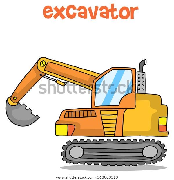 Cartoon of excavator design vector art
