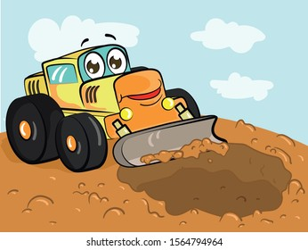Cartoon excavator digging a pit in the ground with it`s bucket on construction area. Vector illustration.