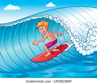 Cartoon of an excited looking teenage boy riding a red surfboard on a wave on a beautiful day.