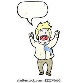 cartoon excited office man with speech bubble