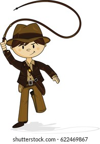 Cartoon Explorer with Whip