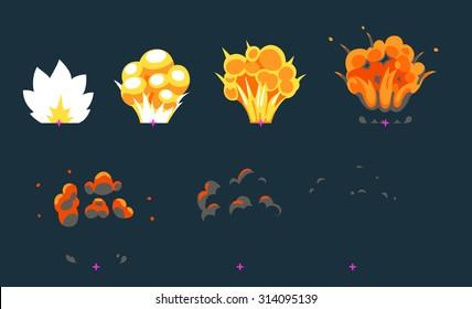 Cartoon explosion animation frames for game. Sprite sheet on dark background.