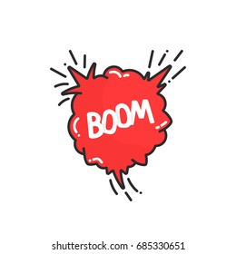 cartoon explosion boom in comic book. concept of simple bursting like creative action. abstract flat style trend modern logotype graphic art design isolated on white background