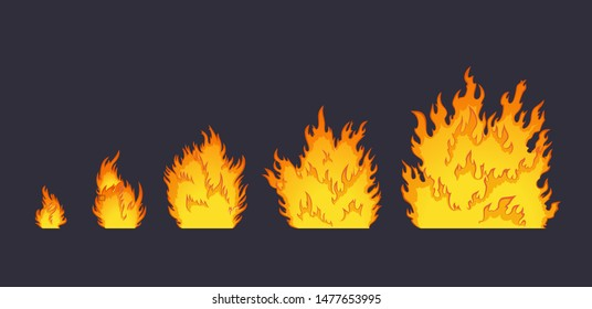 Cartoon explosion fire effect. Effect boom, explode flash, bomb comic book, vector illustration. Animation for game of the explosion effect, broken into separate frames.