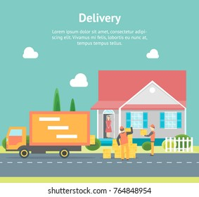 Cartoon Express Delivery Transportation Logistic Service Card Poster Concept for Business Flat Style Design. Vector illustration