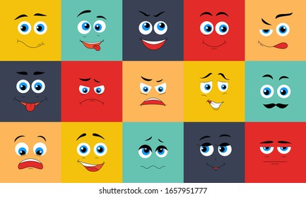 Cartoon expression faces. Funny characters with happy sad angry surprised shy expressions, faces mouth and eyes kawaii manga emotions. Comic emoticon set, vector illustration